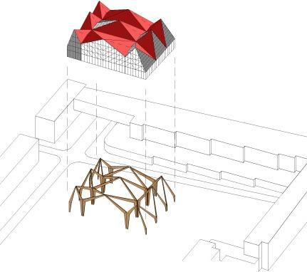 Un système de portiques rayonnants habillés d'une peau transparente.